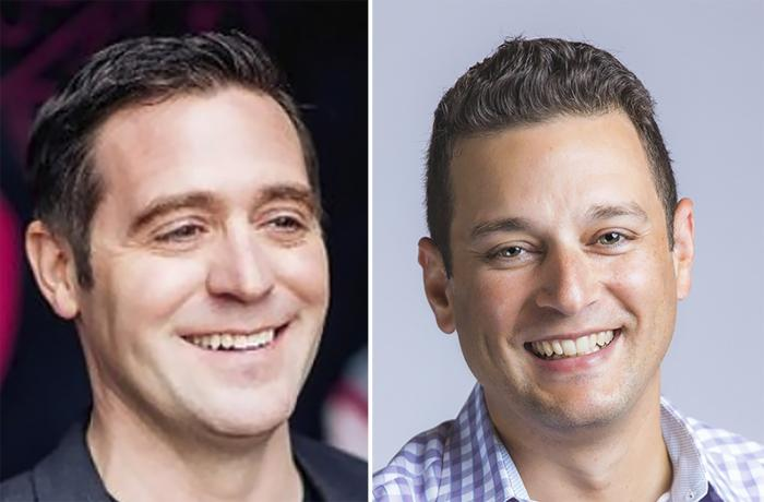 These undated photos provided by T-Mobile shows, from left, T-Mobile executives Matt Staneff and Mike Katz. T-Mobile is pushing to offer internet service to schools that are doing online learning with a program aimed at low-income students who don't have access
