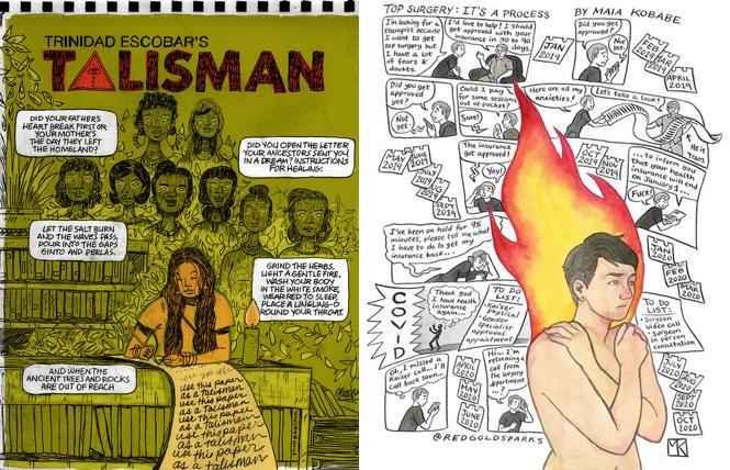 Trinidad Escobar and Maia Kobabe's comic panels