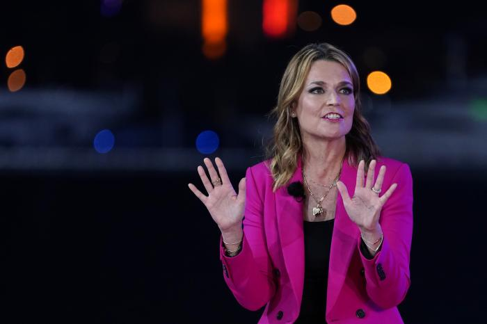 Moderator Savannah Guthrie speaks during an NBC News Town Hall with President Donald Trump at Perez Art Museum Miami.