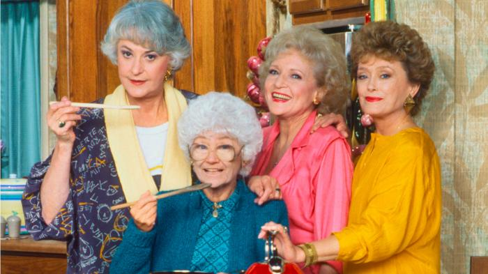 "Beatrice Arthur, Estelle Getty, Betty White and Rue McClanahan in a promotional photo for ""The Golden Girls"""
