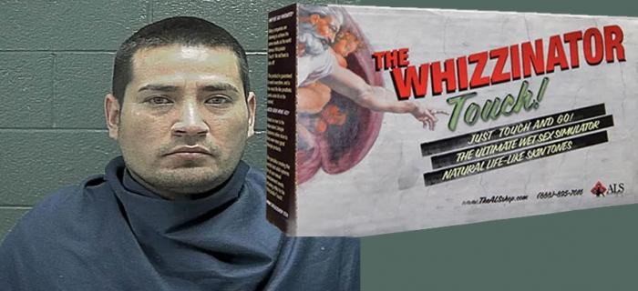 """Francisco Gutierrez and a photo of """"The Whizzinator"""""""