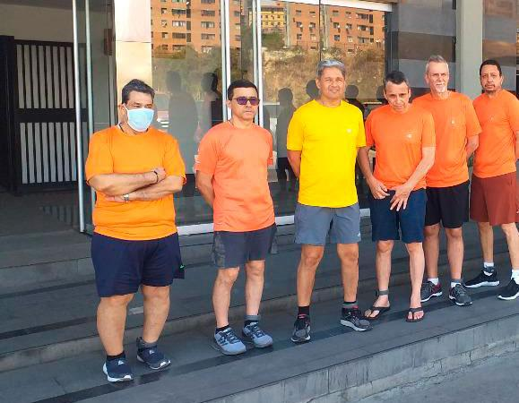 This undated file photo posted on Twitter on June 18, 2020 by Venezuela's Foreign Minister Jorge Arreaza, shows CITGO oil executives Jose Angel Pereira, from left to right, Gustavo Cardenas, Jorge Toledo, Jose Luis Zambrano, Tomeu Vadell and Alirio Jose Zambrano, standing outside the Bolivarian National Intelligence Service, in Caracas, Venezuela.