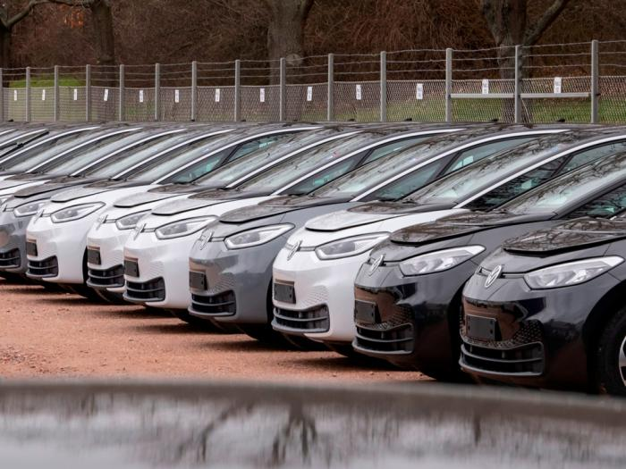 In this Tuesday, Feb. 25, 2020 file photo, Electric car ID.3 cars stand at the factory area during a press tour at the plant of the German manufacturer Volkswagen AG ,VW, in Zwickau, Germany