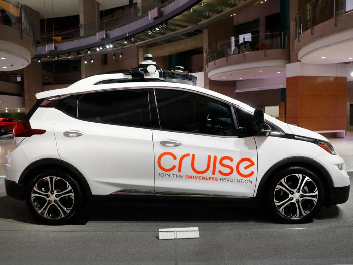 In this Jan. 16, 2019, file photo, Cruise AV, General Motor's autonomous electric Bolt EV is displayed in Detroit