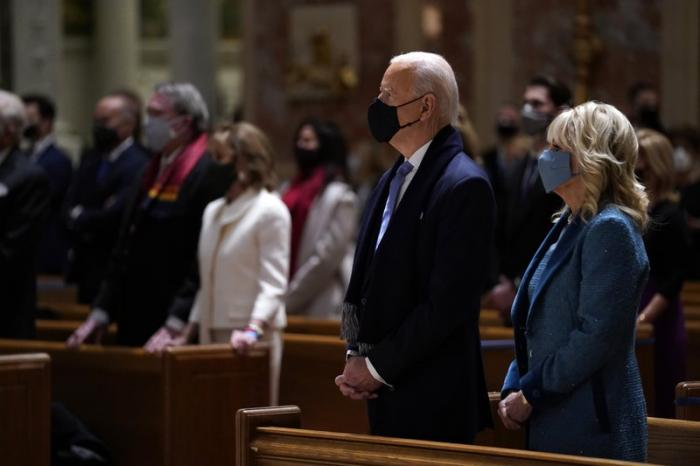 President-elect Joe Biden and Jill Biden at the Cathedral of St. Matthew.