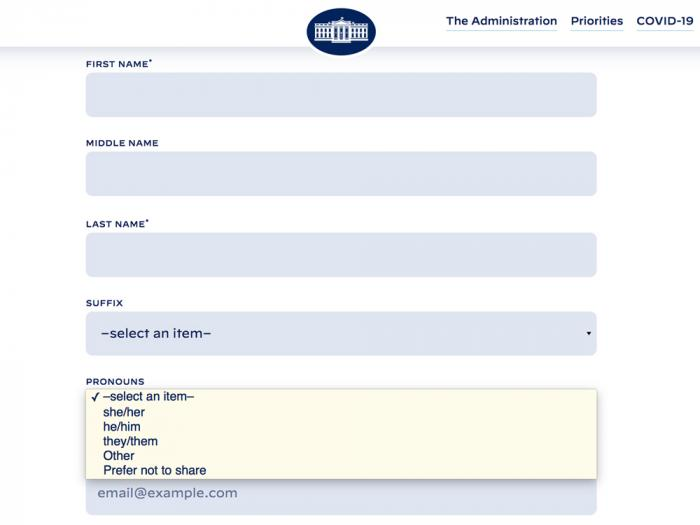 White House Website Now More Inclusive Thanks to Pronoun Options