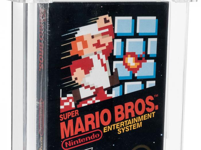 This photo provided by Heritage Auctions, shows an unopened copy of Nintendo's Super Mario Bros., purchased in 1986 and then forgotten about in a desk drawer for decades that has sold for $660,000 at auction