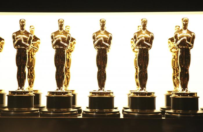 Oscar statuettes appear backstage at the Oscars in Los Angeles.