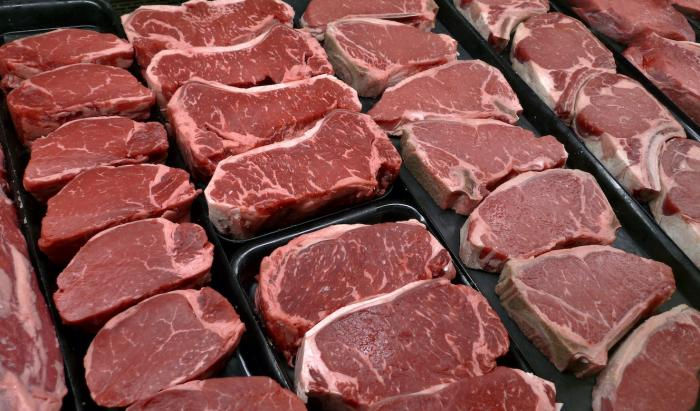 Steaks and other beef products are displayed for sale at a grocery store in McLean, Va.